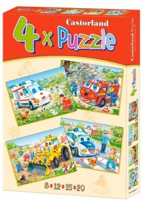 puzzle 4w1 funny vehicles b-04324-1 - ISBN: 5904438004324